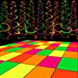 WATINC 35pcs Neon Party Decoration Supplies, Black Light 20 Sheets Neon Paper and 15pcs Neon Hanging Swirls for Birthday Wedding Glow in The Dark Party Decorations, UV Reactive Glow Party Favors