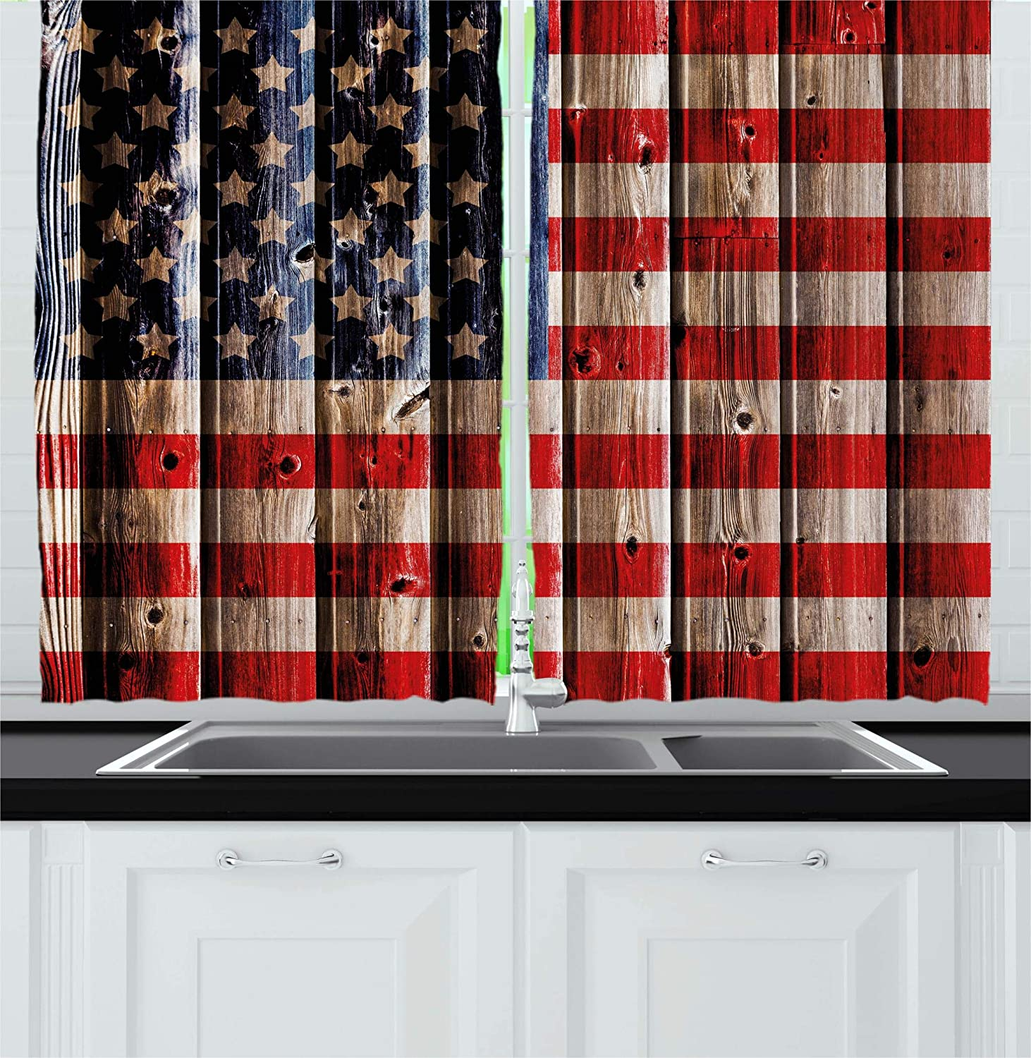 Ambesonne 4th of July Kitchen Curtains, Rustic Backdrop with American Flag Design Wooden Boards Design, Window Drapes 2 Panel Set for Kitchen Cafe, 55 W X 39 L Inches, White Navy Blue Vermilion