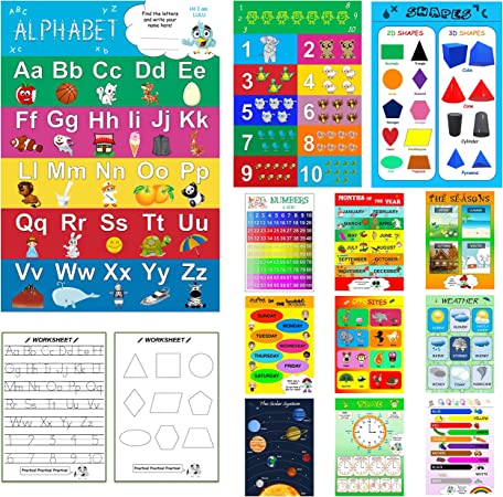 Amazon.com: Preschool Learning Educational Wall Posters With Worksheets For  Toddlers And Kids - Laminated Homeschool Supplies Including Alphabet-Abc  Poster, Number, Weather, Calendar Chart (12+5 Pieces) By AnKa: Everything  Else