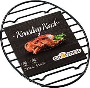 GOURMEX Black Oval Roasting Rack with Integrated Feet | Stainless Steel Kitchen Rack With Non-Stick Coating, PTFE-Free | Oven and Dishwasher Safe | Ideal for Cooking, Roasting, Drying, Grilling