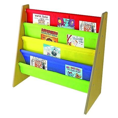 Libro de Niños de almacenamiento de madera Sling estantería con colores – por nuovva