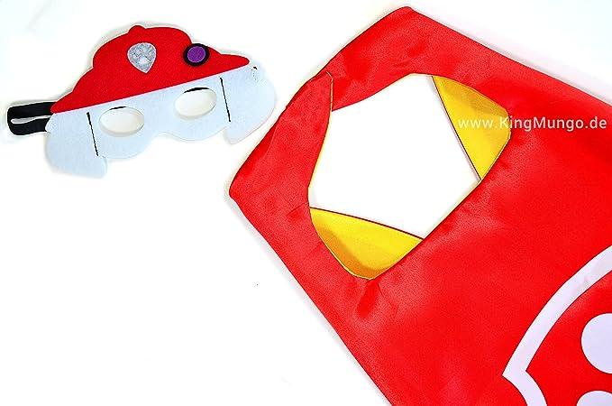 Paw Patrol Marshall Cape y máscara - Super Héroes de disfraces para niños - Disfraz para niños de 3 a 10 años - para Super Held Fiestas.