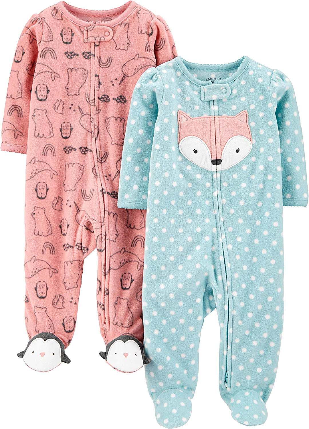 Volpe//Animale Rosa Simple Joys by Carters 2-Pack Fleece Footed Sleep Play Infant-And-Toddler-Bodysuit-Footies 0-3 Months