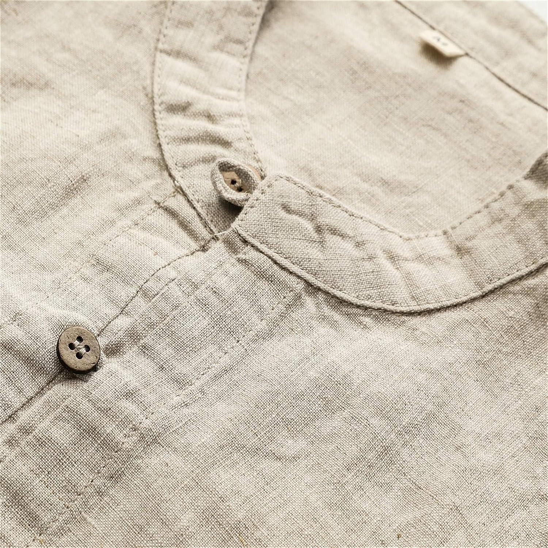 Liveinu Mens 98/% Linen Shirts Long Sleeve Casual Buttoned Shirts Regular Fit