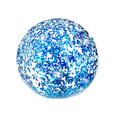 Poolcandy Blue Holographic Glitter Beach Ball - Inflatable Jumbo Pool and Beach Ball: Toys & Games [5Bkhe1401851]