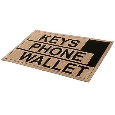 MyGift 2 x 3 ft Brown Polyester Keys Phone Wallet Funny Reminder Doormat/Novelty Non-Slip Floor Mat