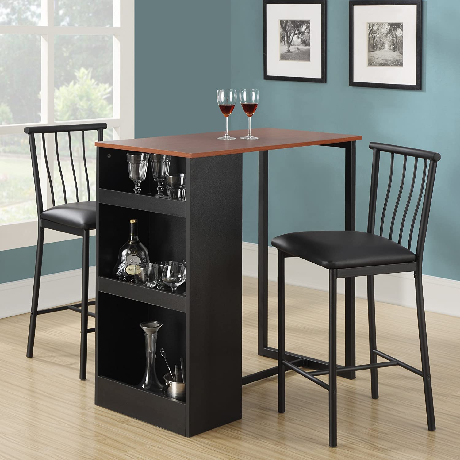 amazoncom dorel living 3piece counter height bar set table u0026 chair sets - Counter Height Table And Chairs