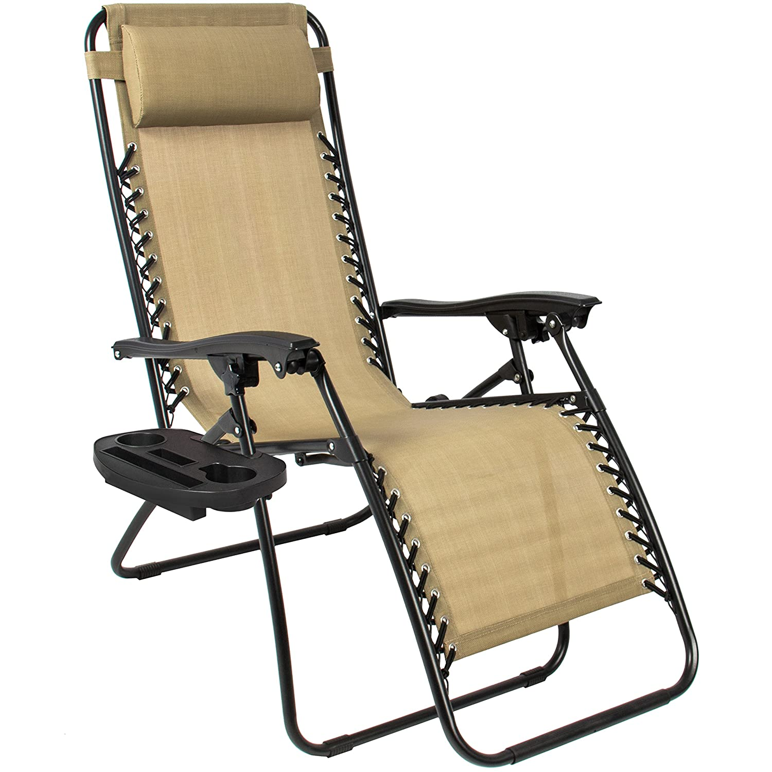 Amazon.com : Best Choice Products Set Of 2 Adjustable Zero Gravity Lounge  Chair Recliners For Patio, Pool W/Cup Holders   Tan : Garden U0026 Outdoor