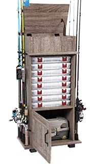 American Furniture Classics Tuff Fishing Storage And Organization Cabinet  With Upper Covered Storage Area, Rough