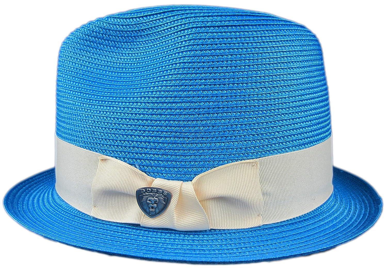 Dobbs Blue Summer Royal Blue Straw Hat Fedora Size Large R Oval 1 1//4 Brim