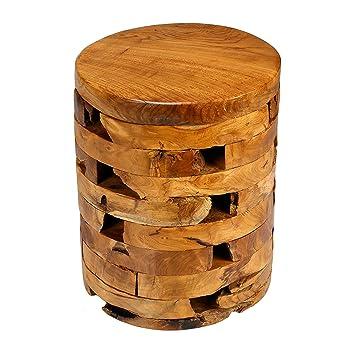 Delightful Bare Decor Stonehenge Artisan Accent Table In Solid Teak Wood