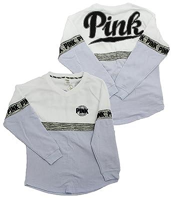 Victoria's Secret Pink Varsity Crew Gray Lilac Gray White X-Small ...