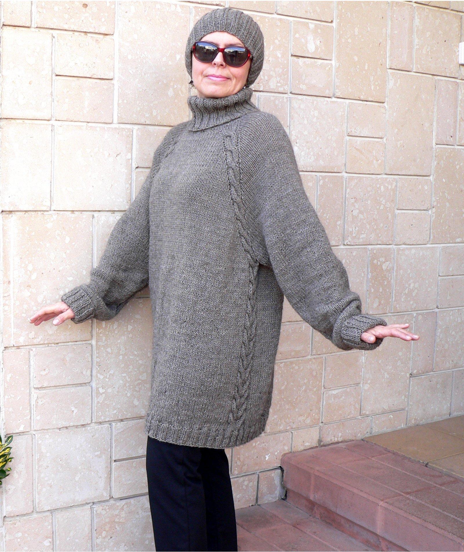 Oversize Women Sweater & Hat Alpaca Camel Wool Cozy