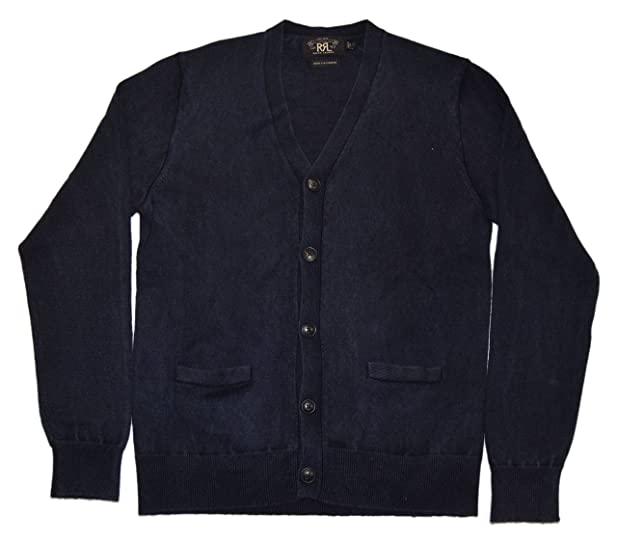 Polo Ralph Lauren RRL Mens Navy Blue Cardigan Cashmere Sweater ...