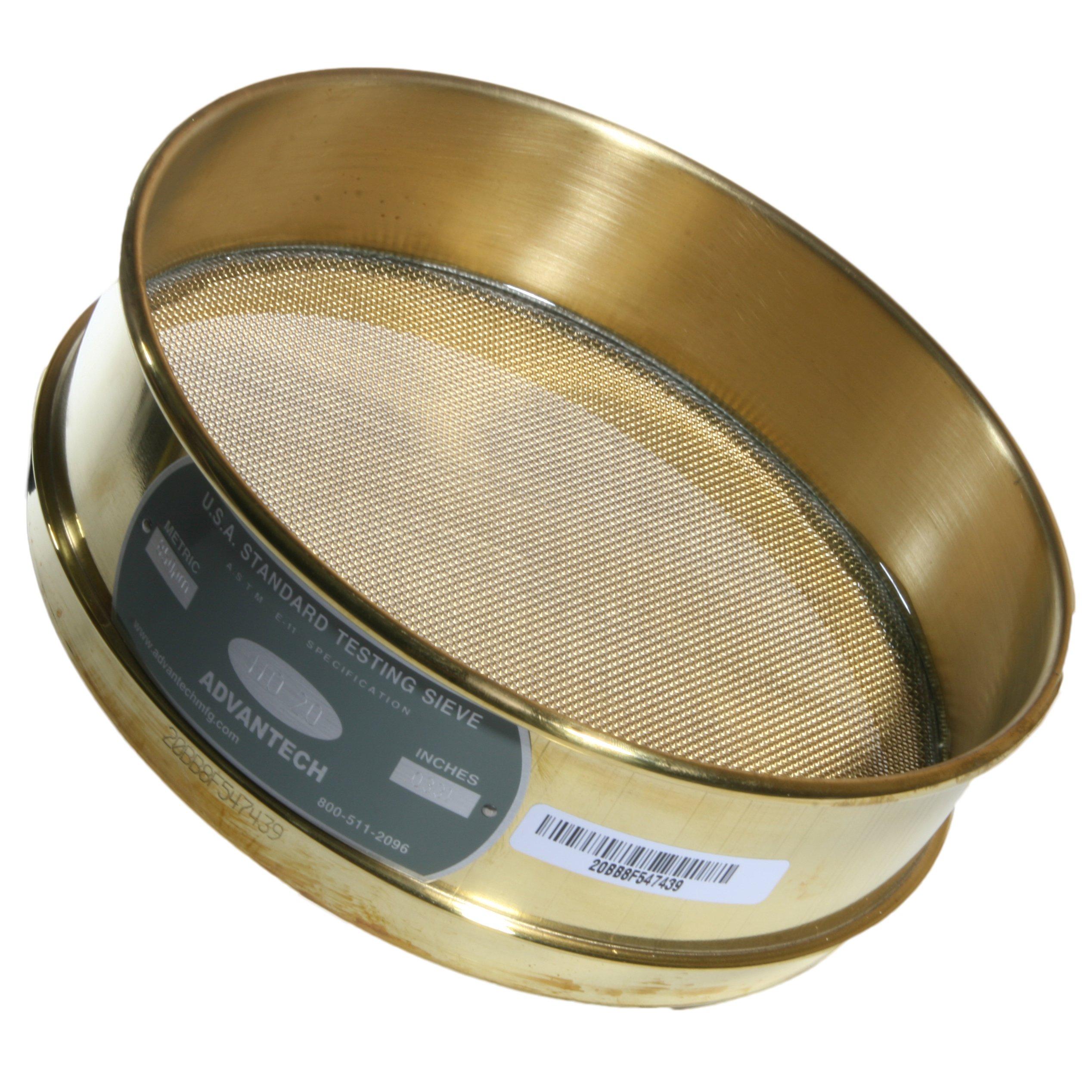 Advantech 20BB8F Brass Brush Sieves, 8'' Diameter, #20 Mesh, Full Height by Advantech