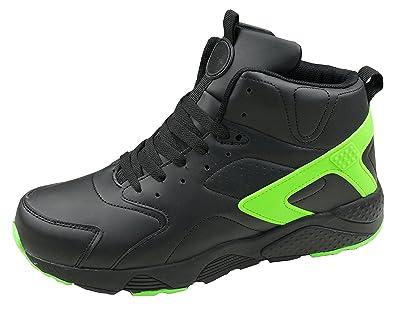 Herren Sneaker Sportschuhe Sehr Leicht, Art. 2137, Knöchelhoch, Schwarz/Neongrün, Gr. 44 Gibra