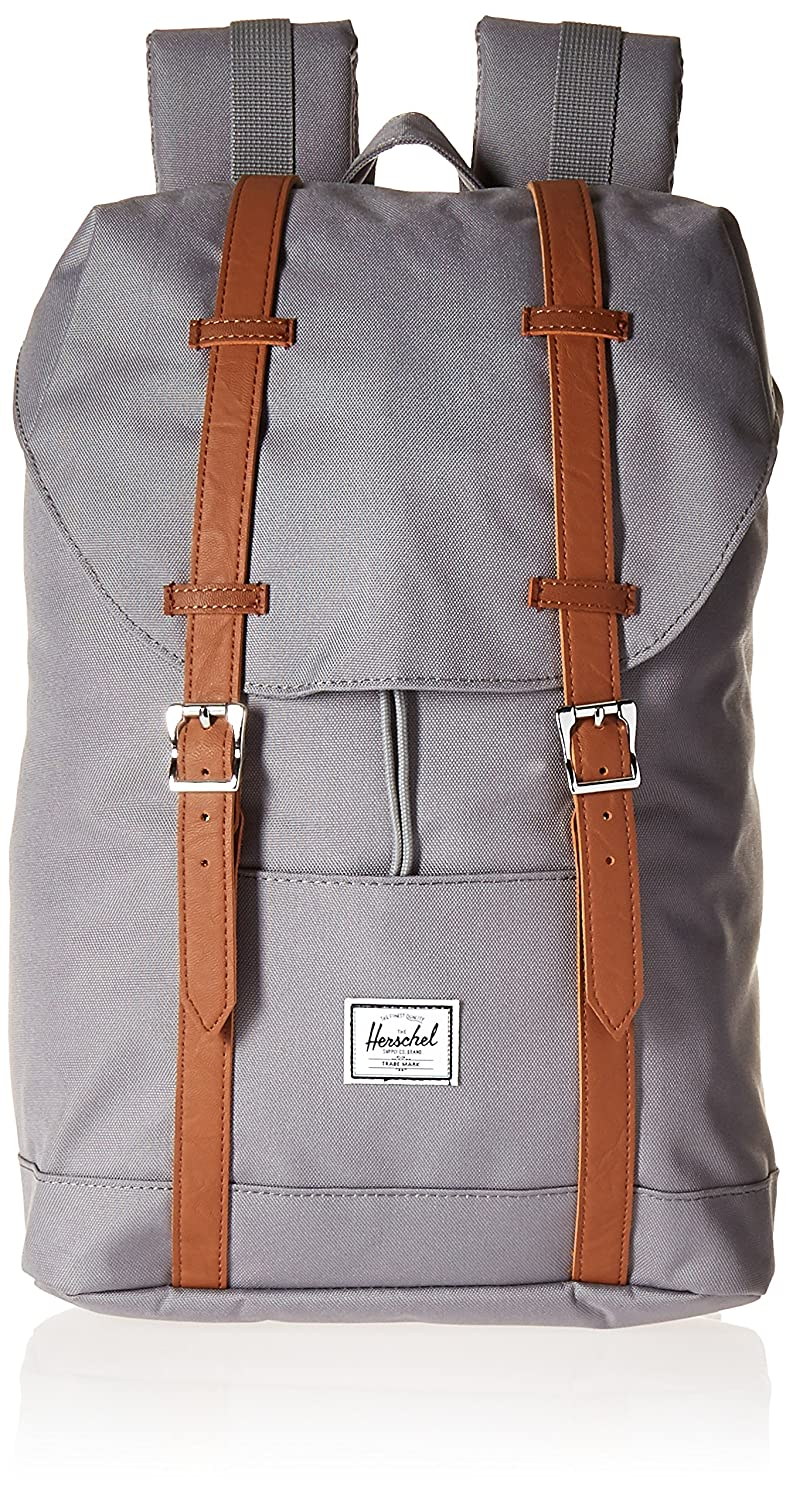 Herschel Supply Co. Retreat Mid-Volume Backpack, Black/Tan Synthetic Leather Herschel Luggage child code 10329-00001-OS