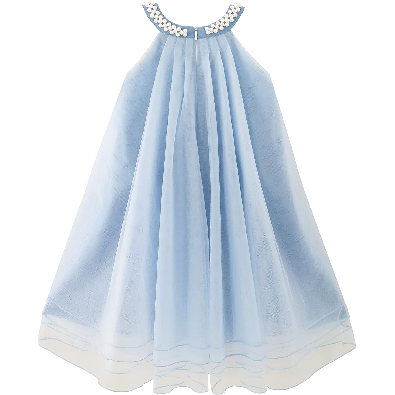 Sunny Fashion Flower Girls Dress Halter Dress Pearl Party Wedding Birthday Age 4-14 Years