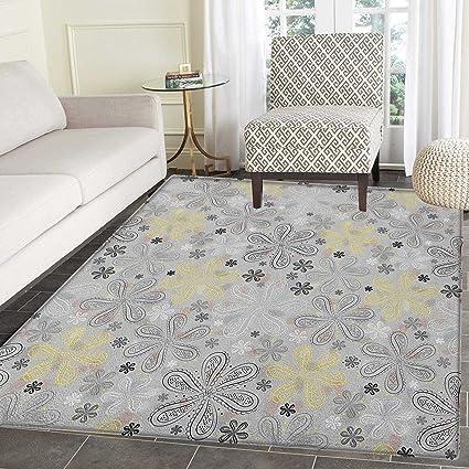 Amazon Com Grey And Yellow Area Rug Carpet Ethnic Bohem Style