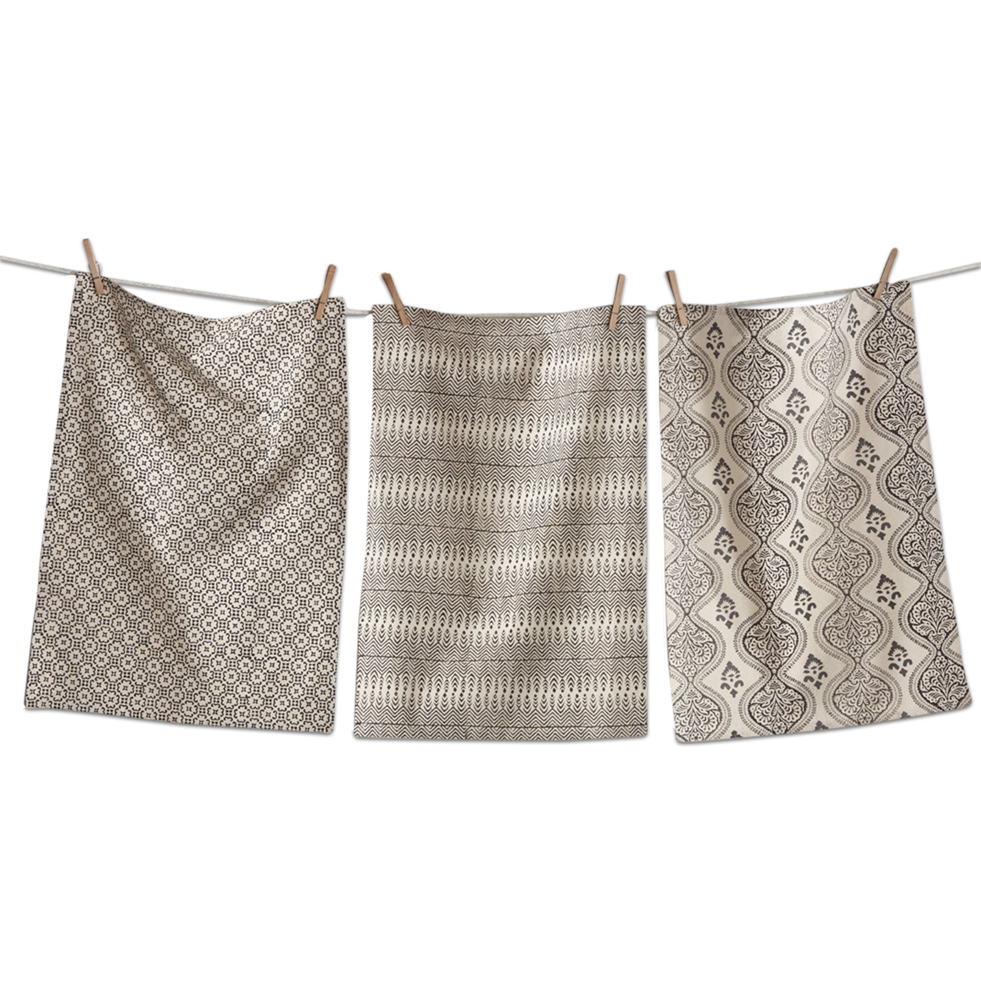 tag - Henna Block Print Dishtowels, Beautiful Designs and Colors Make a Perfect Addition to Any Kitchen, Natural and Black, Set of 3 (26'' x 18'')