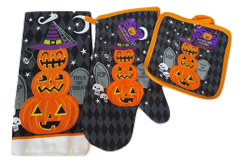 Halloween Pumpkins Oven Mitts, Pot Holders and Halloween Hand Towels Set