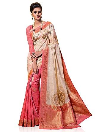 90f139e18ef1e3 Amazon.com: Meghdoot Women's Half N Half Kanchipuram Spun Silk Saree Beige  and Pink Color Sari: Clothing