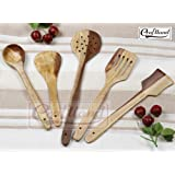 Craft Land Handmade Wooden Serving and Cooking Spoon Kitchen Tools Utensil, Non Stick Set of 5