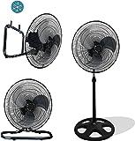 "Premium Large High Velocity Industrial Floor Fan 18"" Floor Stand Mount Oscillating - Cool Black & Silver"