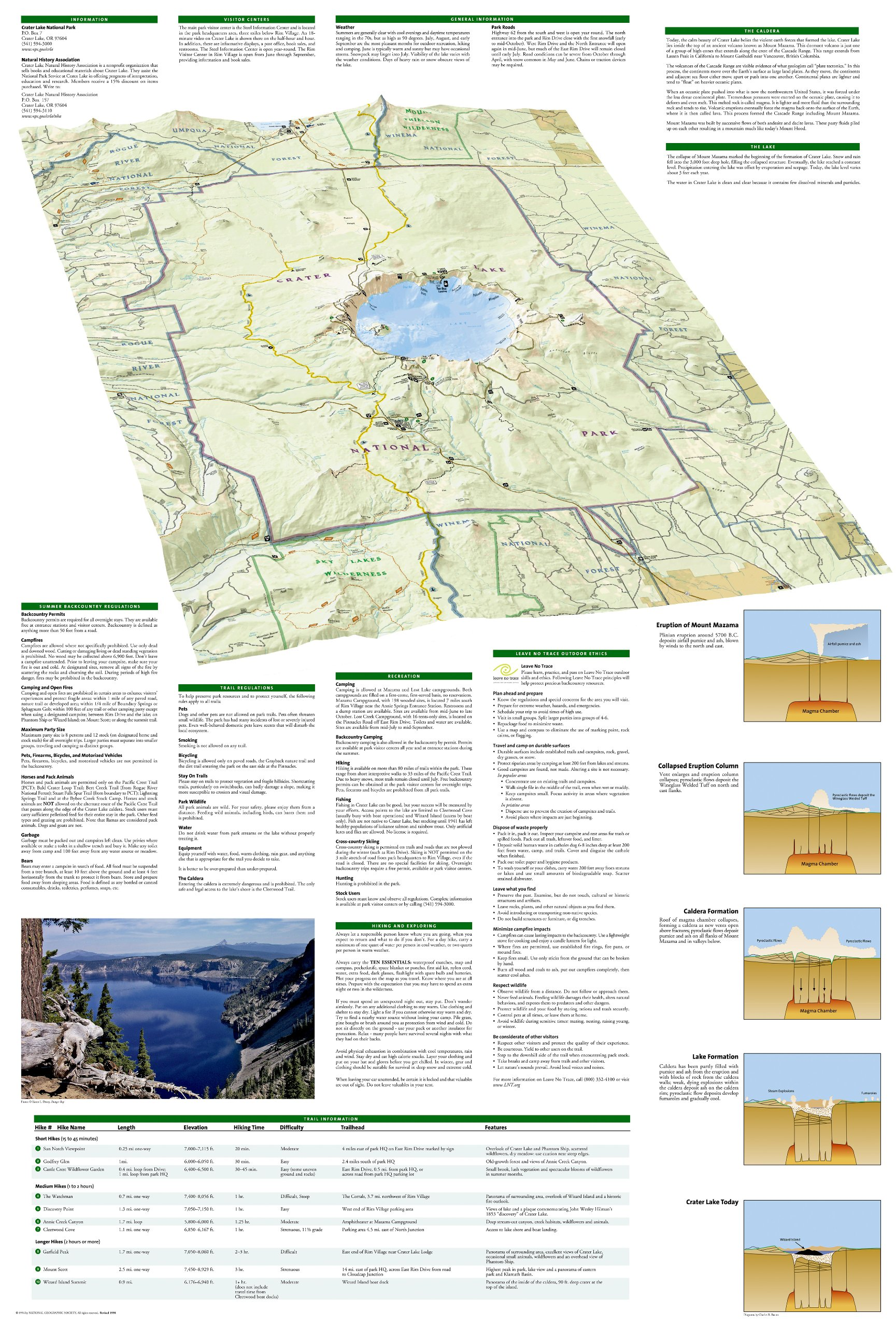 Crater Lake National Park National Geographic Trails Illustrated