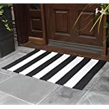 NANTA Black and White Striped Rug 27.5 x 43 Inches Cotton Woven Washable Outdoor Rugs for Farmhouse Layered Door Mats Stripe