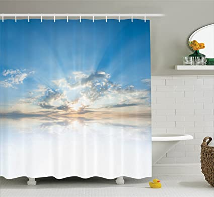 Ambesonne Clouds Shower Curtain Vivid Inspiring Air With Meteoric Reflection Atmosphere Photo Print