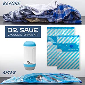 FRESHeTECH Clothes Vacuum and Bags Travel Kit – Include 4 Space Saver Premium Bags and Portable Vacuum - Dr. Save
