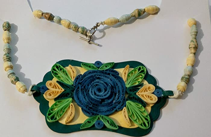 Amazon elegant 3d paper rose necklace handmade elegant 3d paper rose necklace mightylinksfo