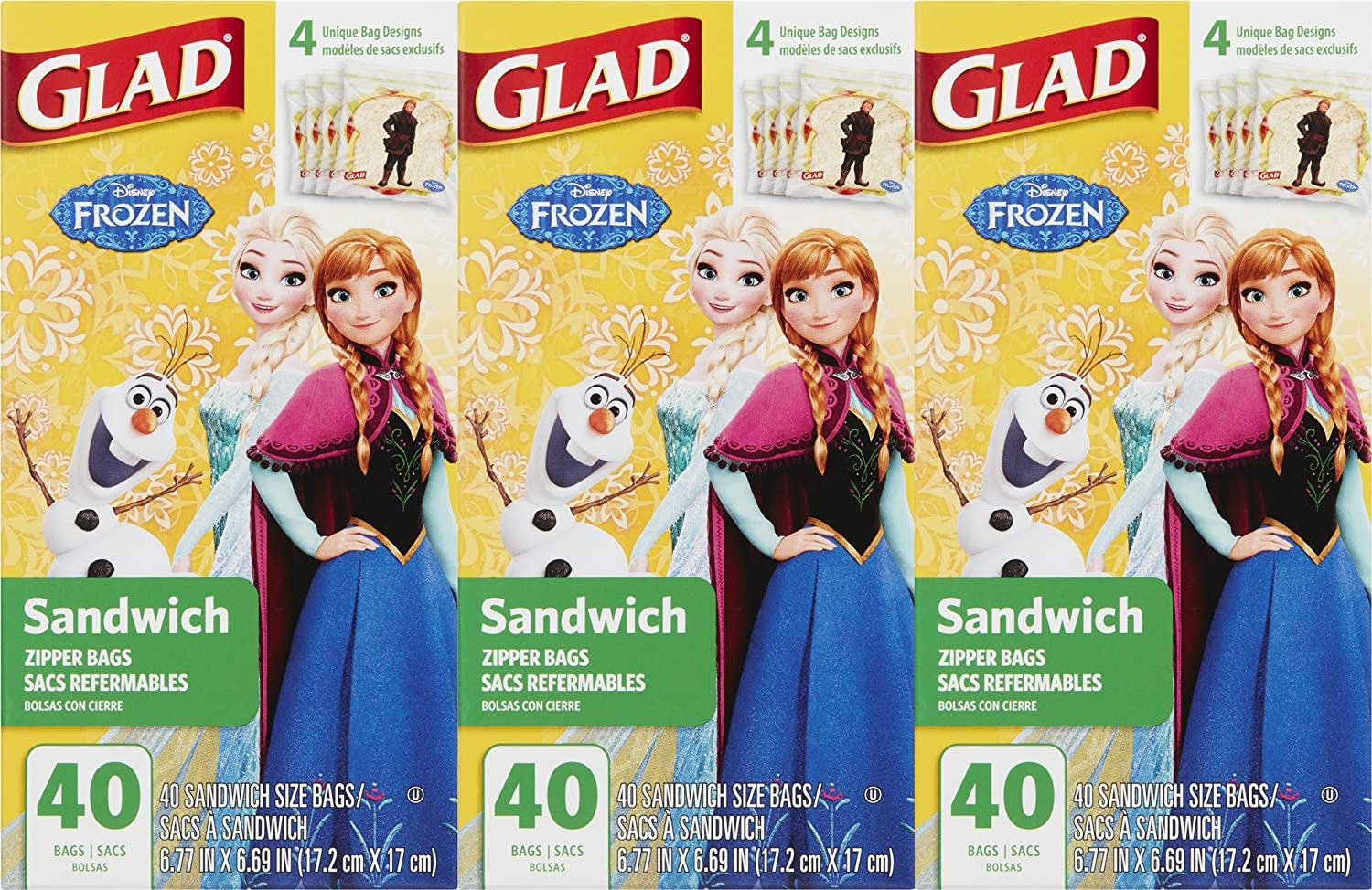 Glad Zipper Food Storage Sandwich Bags - Disney Frozen - 120 Count - (Pack of 3)