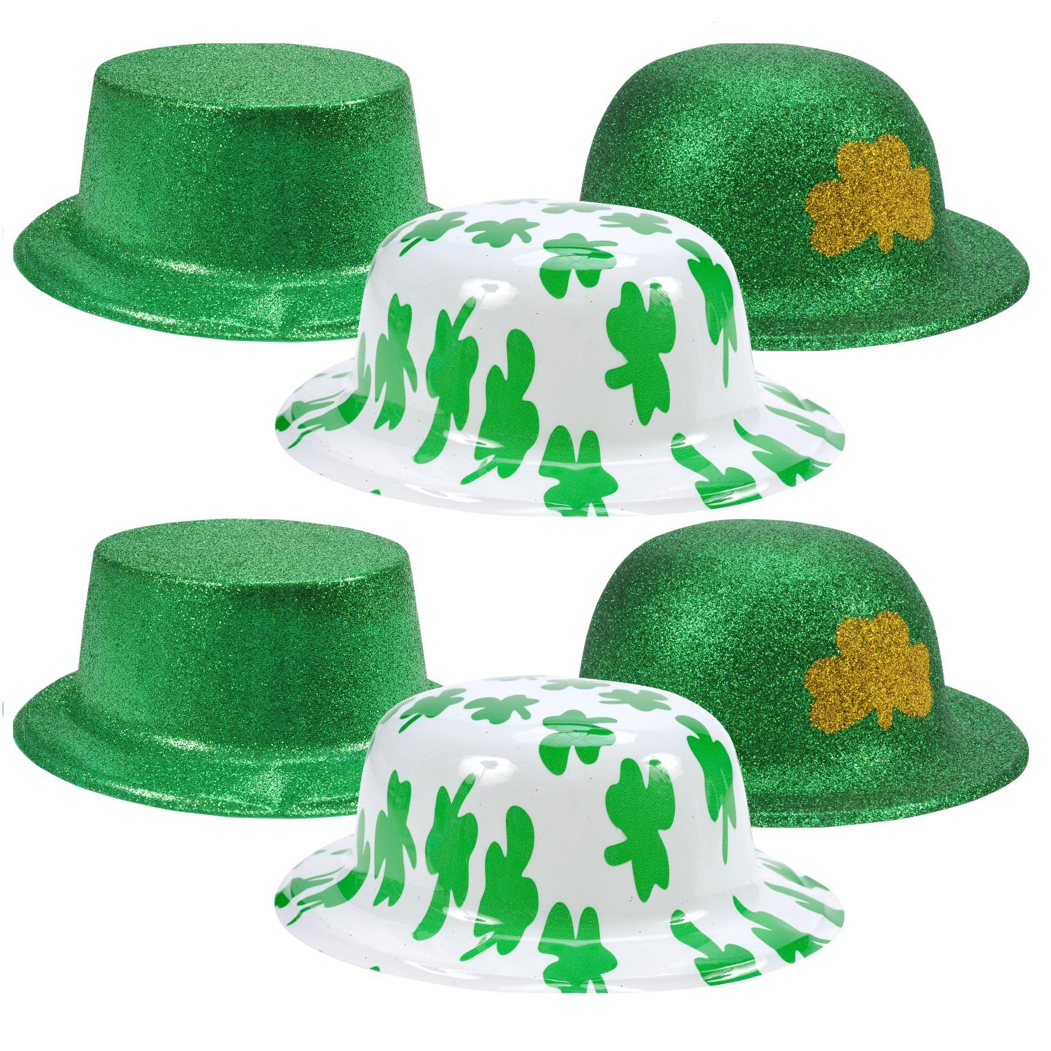 Gift Boutique 6 Pack St Patrick's Day Green Irish Shamrock Hats Costume Party Supplies Decoration Accessories