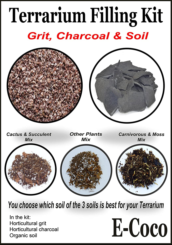 Terrarium Filling Kit Grit Charcoal And Organic Soil For