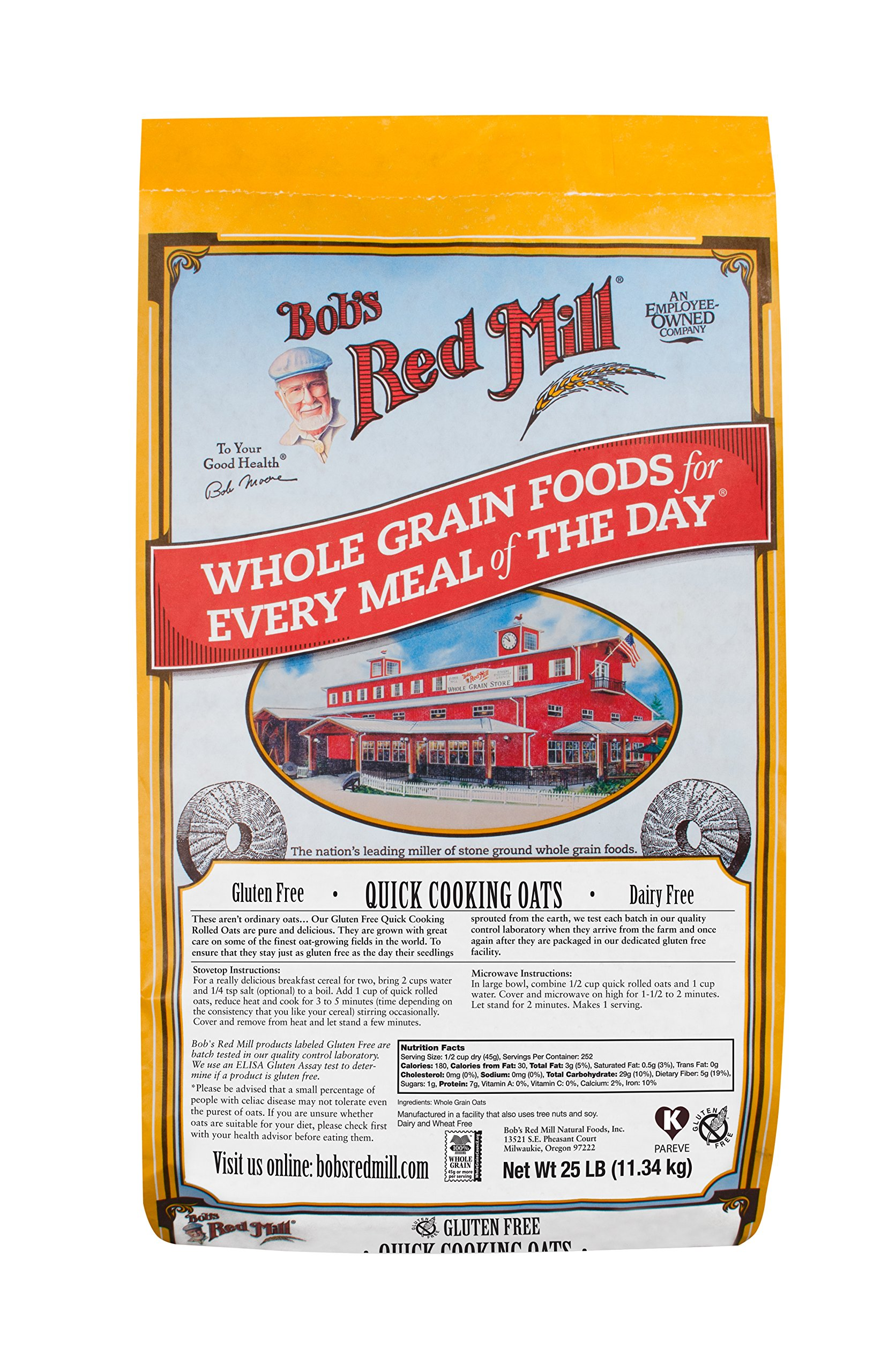 Bob's Red Mill Bulk Oats, Quick Rolled, Gluten Free, 25 Pound by Bob's Red Mill (Image #1)
