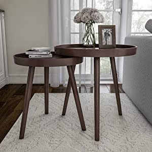 Lavish Home Nesting End Set of 2 Round Mid-Century Modern Accent Table, Brown