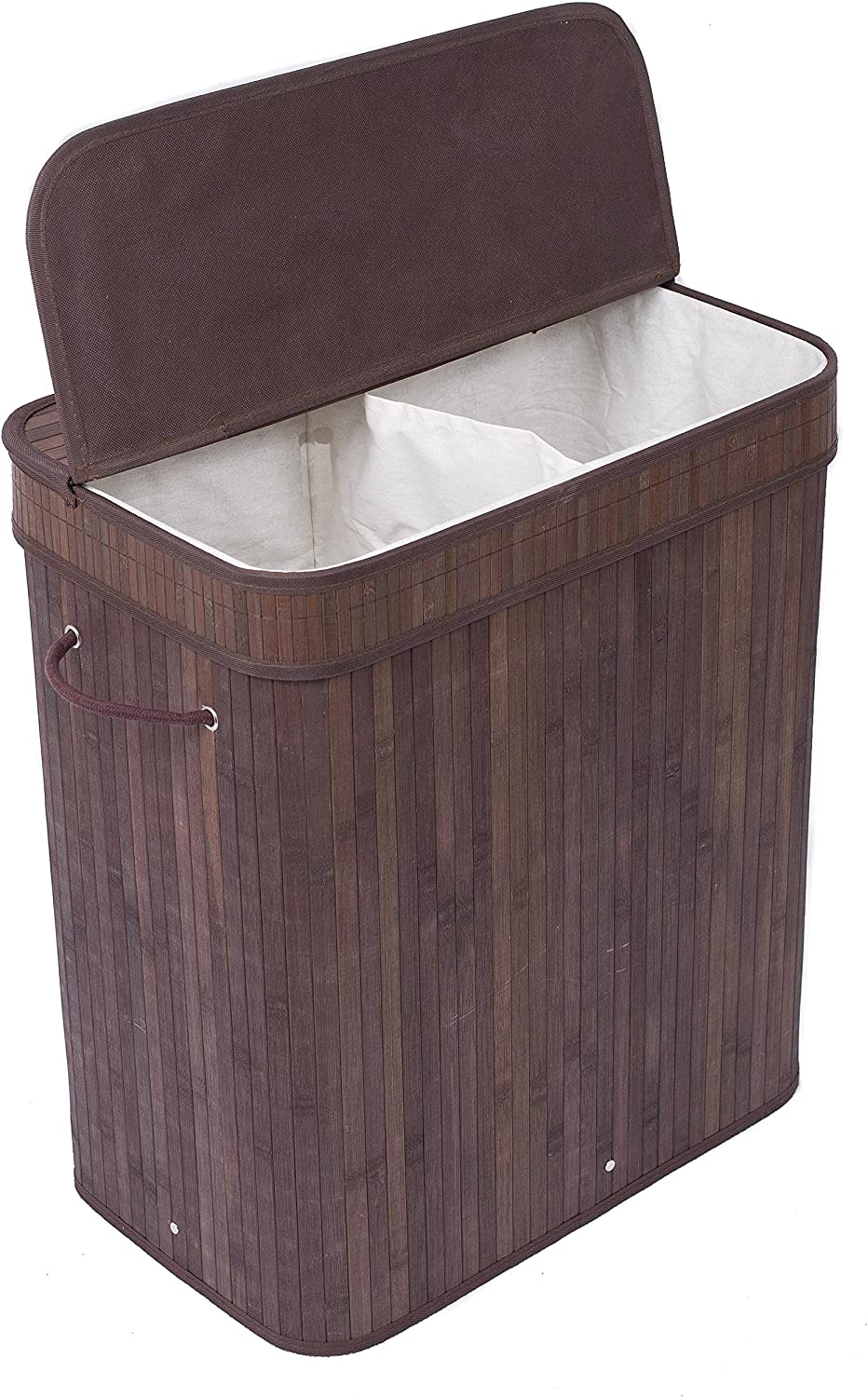 BIRDROCK HOME Double Laundry Hamper with Lid and Cloth Liner - Bamboo - Espresso - Easily Transport Laundry Basket - 2 Section Collapsible Hamper - String Handles