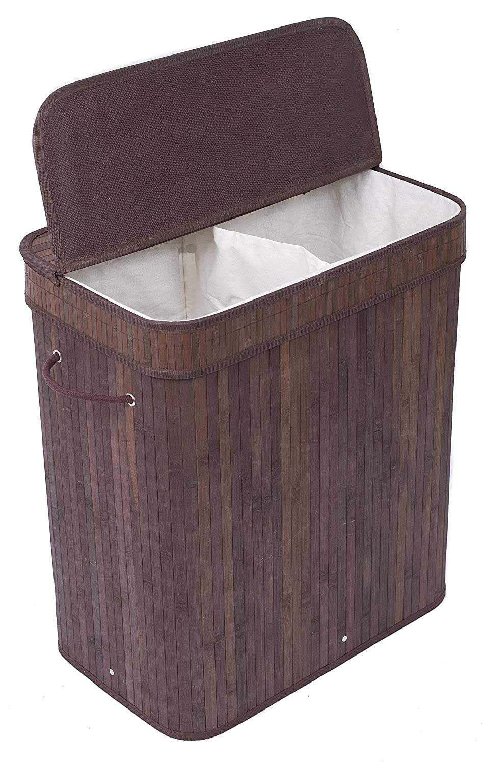 birdrock home double laundry hamper with lid and cloth liner bamboo espresso easily