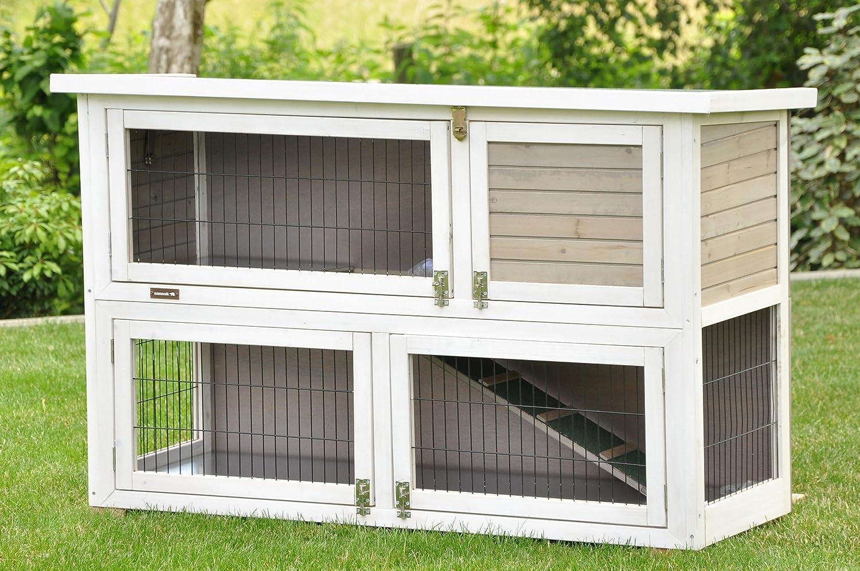 nanook clapier à lapins Filou XL, 2 niveaux, 130 x 83 x 49 cm (LxHxP) couleur blanc gris