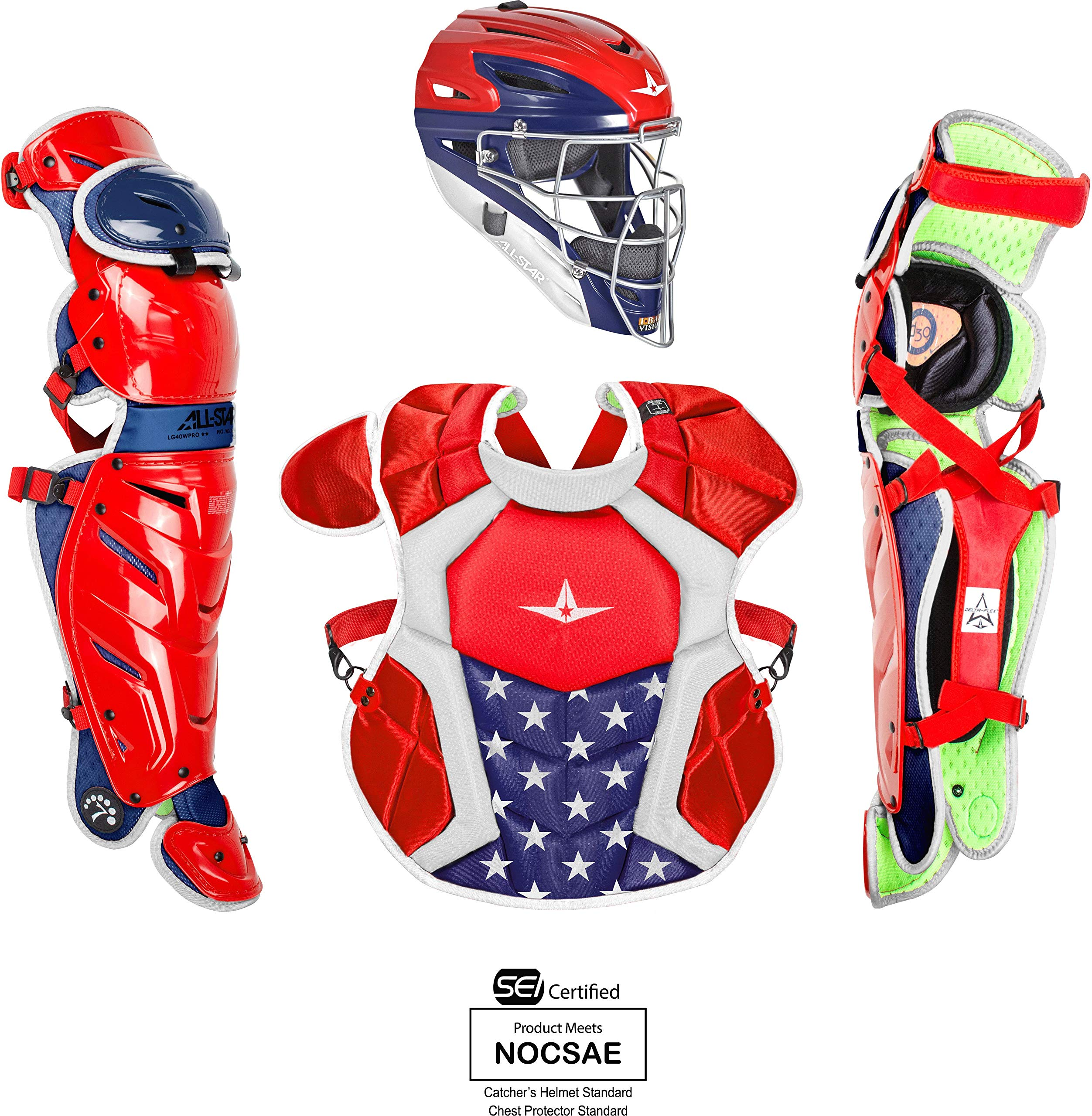 All-Star System7 Axis USA Pro Intermediate Catchers Set Red/White/Blue