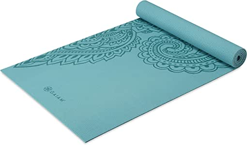 Gaiam Yoga Mat Premium Print Non Slip Exercise & Fitness Mat for All Types of Yoga, Pilates & Floor Workouts, Paisley Frost, 5mm (05-64037)