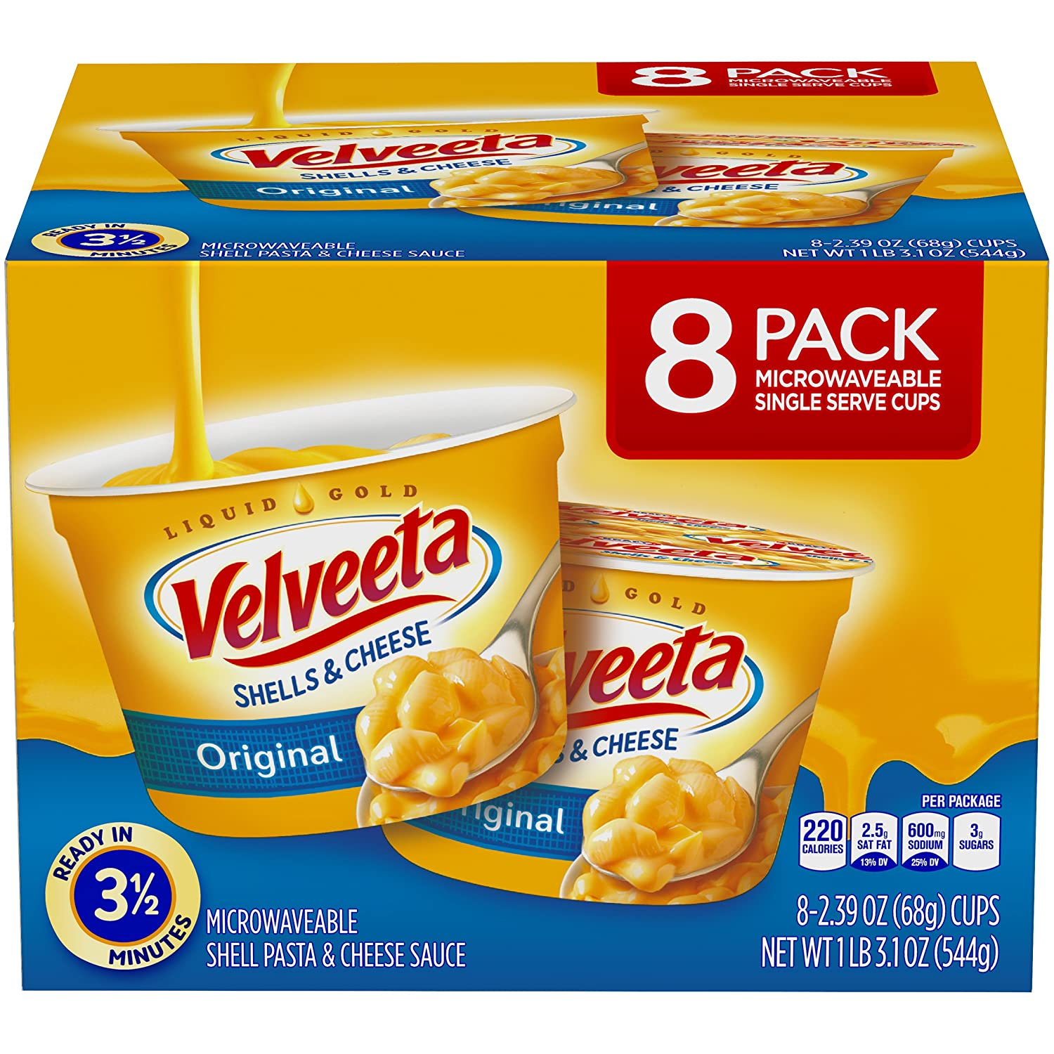 Velveeta Shells & Cheese Pasta, Original, Single Serve Microwave Cups, 8Count