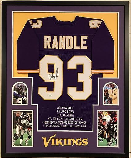 quality design b2cb2 daf38 John Randle Autographed Custom Framed Minnesota Vikings ...