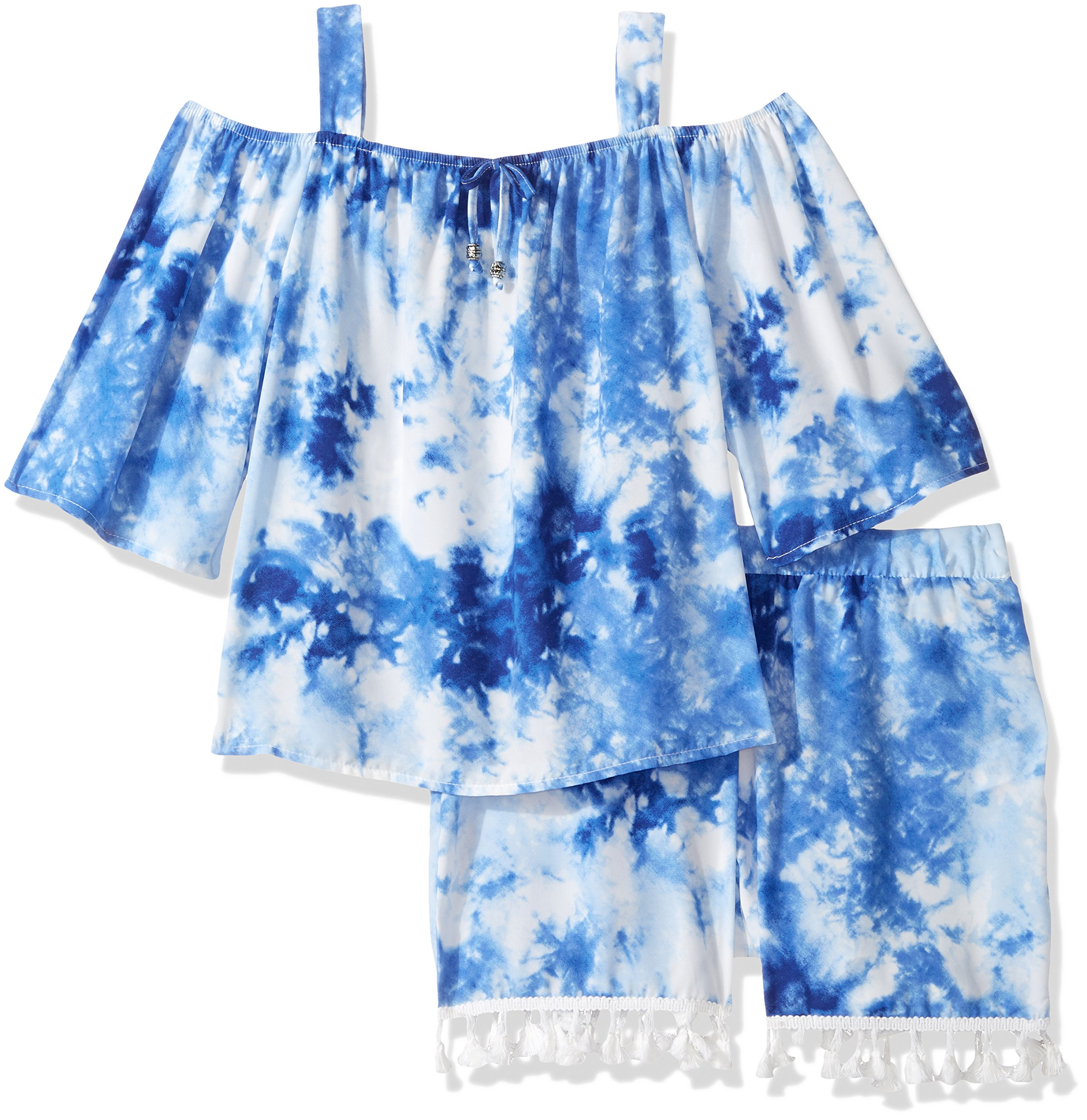 My Michelle Big Girls' Printed Two Piece Set with Cold Shoulder and Tassel Trim, Light Blue Indigo, M