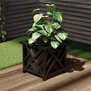 Pure Garden 50-LG5010 Black Square Planter Box Lattice Container for Flowers & Plants