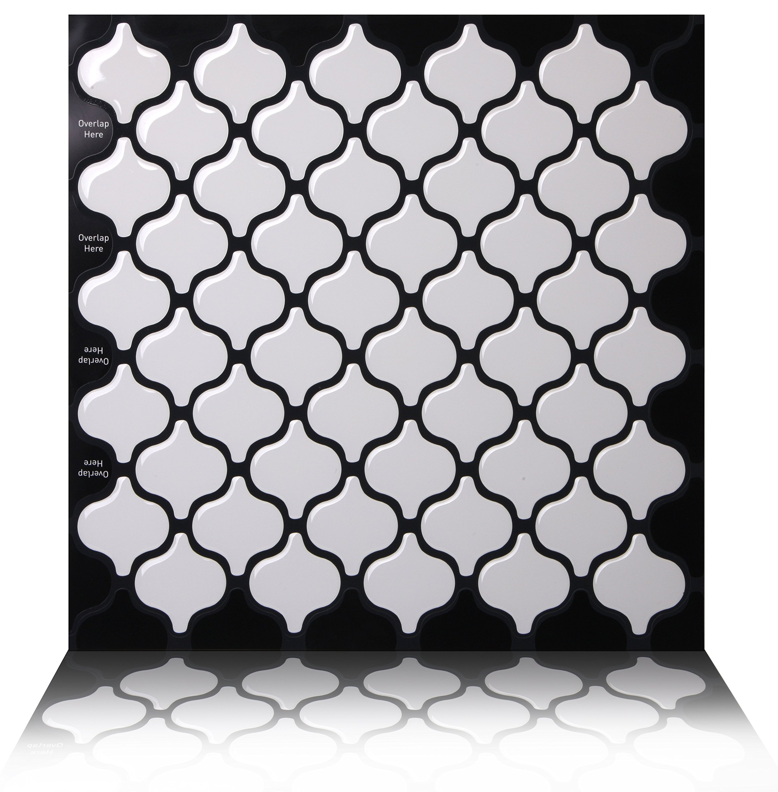 Tic Tac Tiles Anti-Mold Peel Stick Wall Tile in Damask White (10 Tiles)