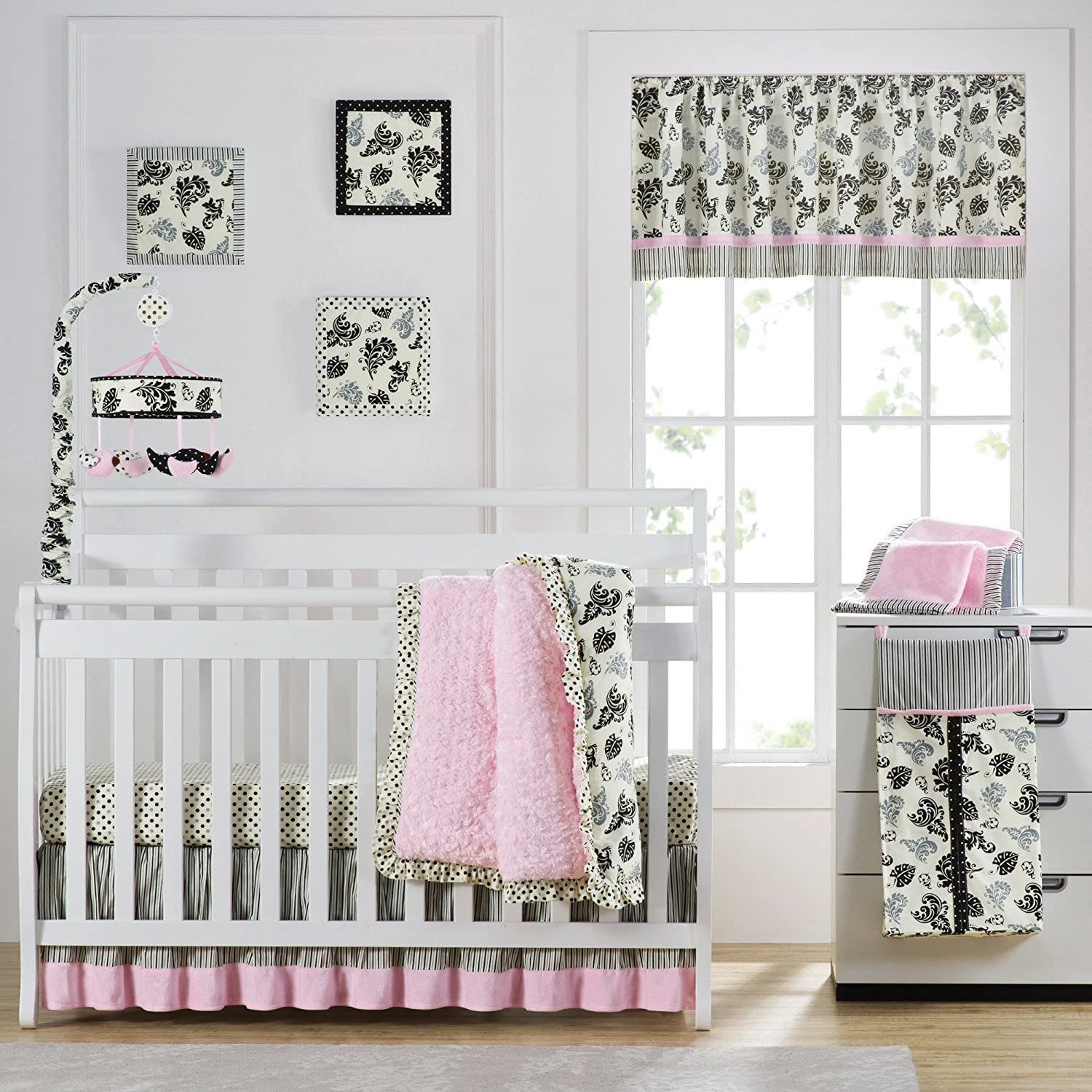 Giggle /& Smile Versailles Pink 10 Piece Baby Crib Bedding Set by Laugh