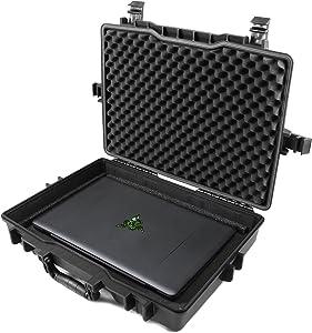 Casematix 15.6 to 17 inch Waterproof Laptop Hard Case Compatible with Razer Blade Gaming Laptops Razer Blade 15, Razer Blade Pro 17, Razer Blade Stealth and More Razer Accessories